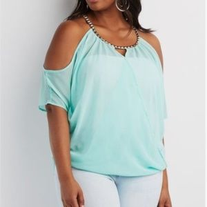 Charlotte Russe Tops - *3/$15* Charlotte Russe Studded Draped Blouse